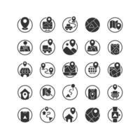 set di icone solide posizione e mappa. vettore e illustrazione.