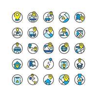 set di icone di contorno pieno di posizione e mappa. vettore e illustrazione.