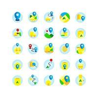 set di icone piatte di posizione e mappa. vettore e illustrazione.