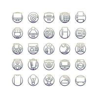 set di icone gradiente apparecchio elettrico. vettore e illustrazione.