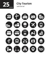 set di icone solide del turismo della città. vettore e illustrazione.