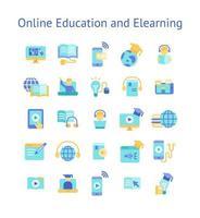set di icone piatte di istruzione online e e-learning.