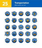 set di icone di contorno pieno di trasporto. vettore e illustrazione.