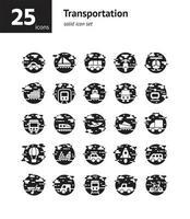 set di icone solido di trasporto. vettore e illustrazione.