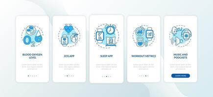 funzioni dell'orologio intelligente onboarding schermata della pagina dell'app mobile con concetti