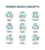 set di icone di concetto di questioni di genere