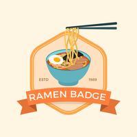 Illustrazione piana di vettore di Ramen del distintivo