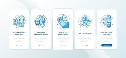 opzioni smartwatch di allerta medica onboarding schermata della pagina dell'app mobile con concetti