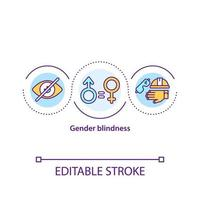 icona del concetto di cecità di genere vettore