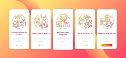 vantaggi della politica sulla diversità di genere nell'inserimento della schermata della pagina dell'app mobile con concetti