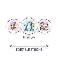 icona del concetto di divario di genere vettore