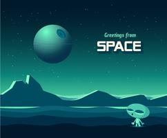 Saluti dalla cartolina di vettore dello spazio