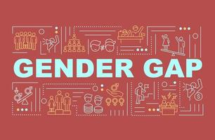divario di genere nel banner di concetti di parola sul posto di lavoro