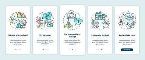 luoghi di vacanza invernale onboarding schermata della pagina dell'app mobile con concetti