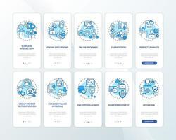 il software di lavoro remoto offre la schermata della pagina dell'app mobile di onboarding con i concetti impostati