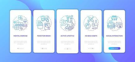 schermata della pagina dell'app mobile onboarding gradiente blu di assistenza sanitaria del cervello con concetti