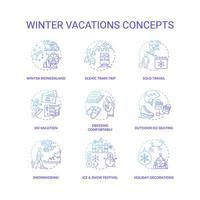 set di icone di concetto di vacanze invernali