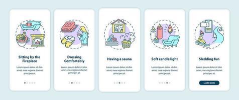 stile di vita hygge per la schermata della pagina dell'app mobile di onboarding invernale accogliente con concetti