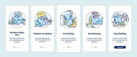 attività all'aperto invernali onboarding schermata della pagina dell'app mobile con concetti