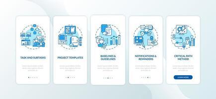 struttura software di lavoro remoto onboarding schermata della pagina dell'app mobile con concetti