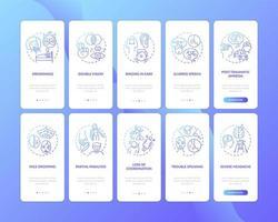 problema neurologico segno gradiente blu onboarding schermata della pagina dell'app mobile con concetti impostati