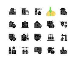 birra nera glifo icone impostate su uno spazio bianco