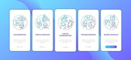 schermata della pagina dell'app mobile di onboarding gradiente blu del tratto cerebrale con concetti