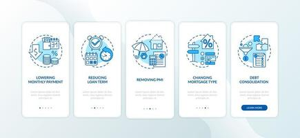 vantaggi di rifinanziamento ipotecario onboarding schermata della pagina dell'app mobile con concetti