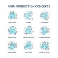 set di icone di concetto di produzione agricola