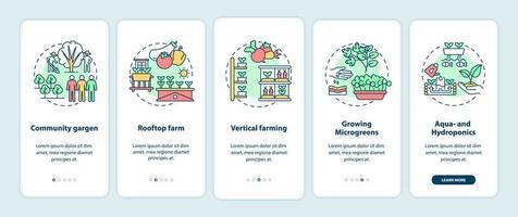 schermata della pagina dell'app mobile per l'onboarding dell'agricoltura urbana con concetti
