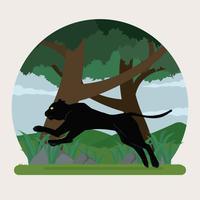 Pantera nera che salta sull'illustrazione della foresta