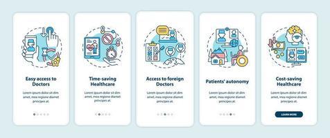 vantaggi della telemedicina onboarding schermata della pagina dell'app mobile con concetti