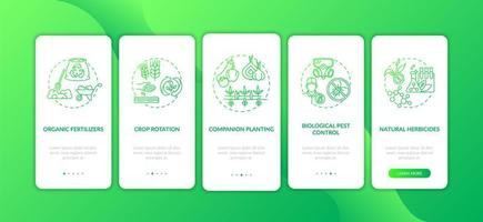 principi dell'agricoltura biologica onboarding schermata della pagina dell'app mobile con concetti