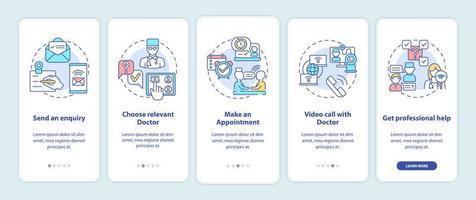 passaggi di consultazione telemedicina onboarding schermata della pagina dell'app mobile con concetti
