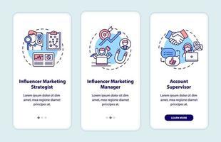 lavori di marketing influencer onboarding schermata della pagina dell'app mobile con concetti vettore