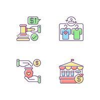 set di icone di colore rgb servizi al dettaglio