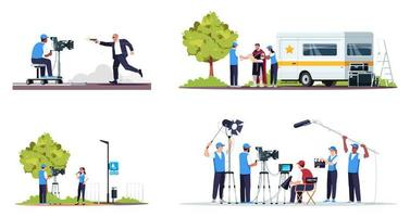 set di illustrazione vettoriale a colori rgb semi piatto per creazione di film