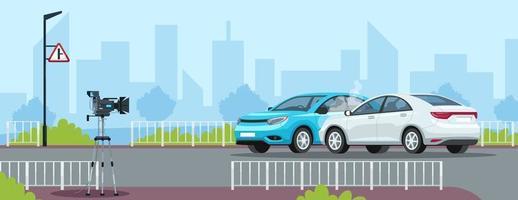 illustrazione vettoriale semi piatto incidente d'auto