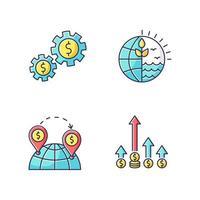 affari internazionali, set di icone di colore rgb commercio globale. beni e risorse naturali utilizzando. commercio, commercio mondiale, vantaggio competitivo. illustrazioni vettoriali isolate