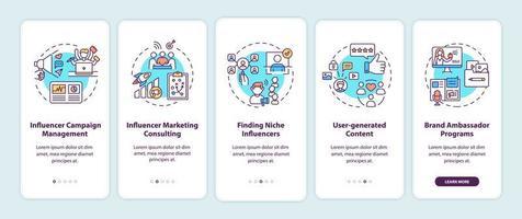 servizi di agenzia di marketing influencer onboarding schermata della pagina dell'app mobile con concetti