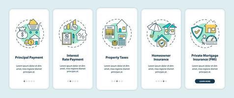 elementi di pagamento ipotecario onboarding schermata della pagina dell'app mobile con concetti
