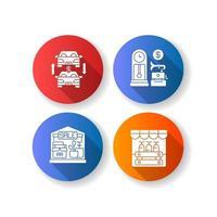 mercato delle pulci design piatto lunga ombra glifo set di icone