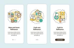 tipi di rifinanziamento ipotecario onboarding schermata della pagina dell'app mobile con concetti