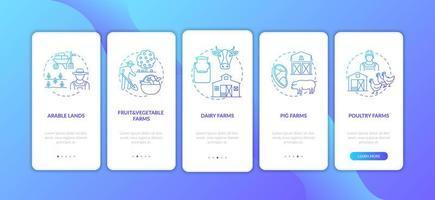 tipi di produzione agricola onboarding schermata della pagina dell'app mobile con concetti