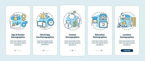dati demografici dei social media onboarding schermata della pagina dell'app mobile con concetti
