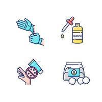 set di icone di colore rgb attrezzature mediche