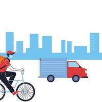 corriere con maschera e mezzo di trasporto per la consegna