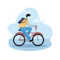 uomo con zaino in sella a una bicicletta vettore