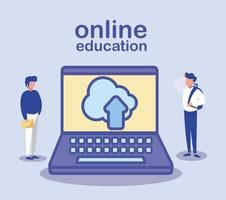 uomini con laptop, formazione online vettore