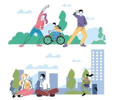 persone che fanno attività fisica all'aperto nel parco vettore